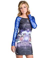 NEW Too Fast Black/Blue Skeleton Unity Hazard L/S Bodycon Dress Gothic Cyber S