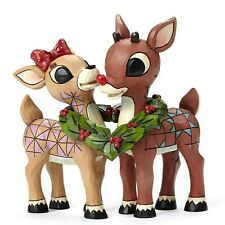 """Jim Shore Rudolph Traditions """"Rudolph and Clarice with Wreath"""" (4053069) - New"""