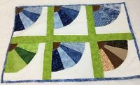 Small Patchwork Quilt, Doll Crib Quilt Or Table Topper, Fan, Floral Calicos