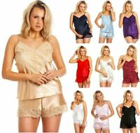 18 20 Luxury Quality 96gsm Satin Camisole Top /& French Knickers Claret OS