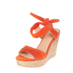 RRP €125 GUESS Leather Ankle Strap Sandals Size 38 UK 5 US 7.5 Woven Platform