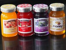 Dollhouse Miniature 3 Flavors Fruit Jam & Honey Glass Bottle Food Groceries 1:12