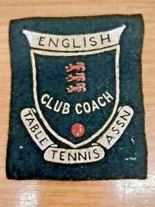 ENGLISH TABLE TENNIS ASSOCIATION: CLUB COACH: CLOTH SEW-ON PATCH: SUPERB ITEM !!