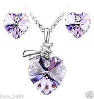 Parure plaqué or, cristal coeur violet, collier, pendentif, boucles d'oreilles