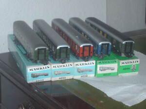 Märklin  5 Stück D-Zug, Speise, Gepäckwagen mit Schlusslicht 4044,40274022-23.24
