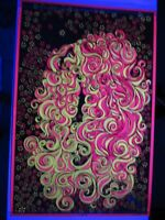 Vintage 1969 Crazy Trippy HAIR Psychedelic Blacklight Poster Frank Kay Dist RARE