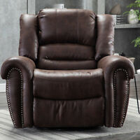 Overstuffed Manual Suede Swivel Rocker Recliner Chair Large Living Room Sofa