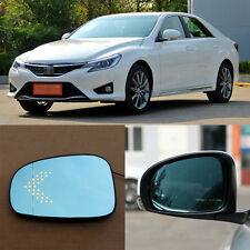 Rearview Mirror Blue Glasses LED Turn Signal with Power Heating For Toyota REIZ