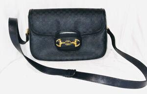 ORIGINAL GUCCI GOLD HORSEBIT 1955 BLACK CROSSBODY SHOULDER BAG PURSE GUCCISIMA