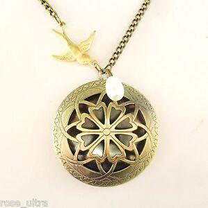 Art Nouveau Style Vintage Brass Filigree Locket, Antique Bronze Long Necklace