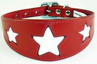 Leather Saluki, Afghan Dog Collar Red With White Star collier levrier galgo