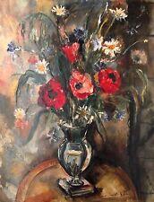 Pierre Ernest Kohl - Huile sur toile - Bouquet de fleurs(v)