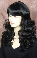 Glamourous Long Curly Wig In Black / 100% Japanese Fibre Brilliant Quality