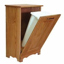 Oak 13 Gallon Tilt Out Trash / Recycling Bin -  Amish Made in USA