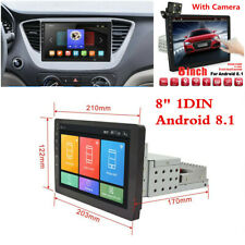 """1DIN Adjustable 8"""" Android 8.1 Car Stereo Radio GPS Wifi Mirror Link w/Camera"""