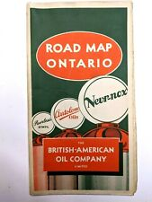 1930s British American Oil Company ONTARIO Road Map Canada Autolene Peerless Gas