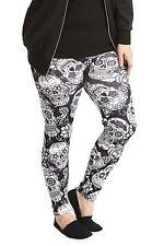 New Ladies Leggings Womens Plus Size Trouser Sugar Skull Print Gothic Nouvelle