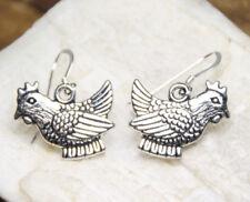 "Chicken Pewter Charms .925 sterling silver Hook Earrings 1"" length Farm Birds"