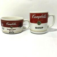 Campbells Condensed Soup Mug Cup Corning Glass & Souper Stars Bowl Mug Lot of 2