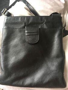 Sienna De Luca Black Italian Leather Cross Body/Shoulder Bag Adjustable Strap