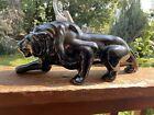 Original Vintage Ceramic Black Panther Lion Figurine, 1950s, Retro, Unmarked.