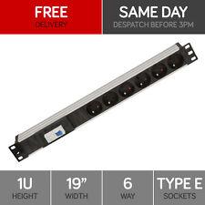 """Linxcom 6 Port/Way Power Strip PDU French Socket & CB- 1U 19"""" Rack Mount"""