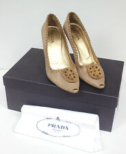 PRADA Brown suede pointed toe heels 38.5 uk 5.5