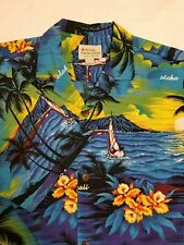 ROYAL HAWAIIAN CREATION SHIRT ~ L ~ ISLAND PALM TREE PRINT 100% COTTON