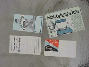 1925 Coleman Gas Heated Irons Brochure Collection of 4 Rare Hardware Co Lot