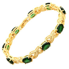 Xmas Melina Rhinestone Green Emerald 18K Yellow Gold Gp Tennis Bracelet Jewelry