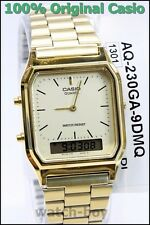 AQ-230GA-9D Casio Watch Dual Time Gold Analog Digital Steel Band Classic Alarm