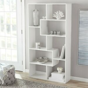 Modern Bookshelf Mainstays 8 Cube Tall storage Bookcase Large Open Book Display