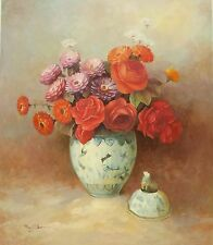 ROSES AND CARNATIONS IN ORIENTAL POT 20 x 24 Oil Painting on Canvas by R. Wilson