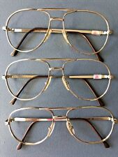 Vintage Lot 3 Men's Metal Gold Aviator Pilot 55/16 Eyeglasses Nos Italy