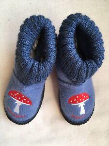 Adelheid Glückspilz Kinderhüttenschuh Hausschuh Wollfilz Pilz 🍄 blau Gr 30 neu