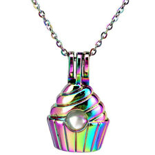 """Rainbow Color Beads Cage Ice Cream Food Charm Necklace 18"""" -C950"""