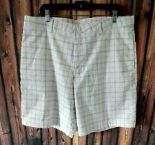 Champion Mens Flat Front Lightweight  Golf Shorts Plaid White 38W