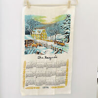 Vintage Calendar Tea Towel country winter farm sunset 1974 Currier and Ives