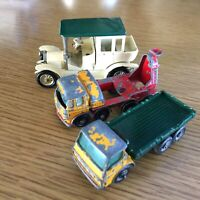 3 Matchbox Lesney Models of Yesteryear '10 Benz Limo Concrete Truck Stake Truck