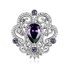 GORGEOUS VINTAGE INSPIRED SILVER PLATED PURPLE CZ AND CRYSTAL CLASSIC  BROOCH