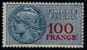 EBS France 1936-1958 - Fiscal - 100 Francs - Timbre fiscale - YT TF 168 MNH**
