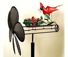 Cardinal Family Whirligig, Wind-Powered Sculpture Garden Decor w/ Pole dm