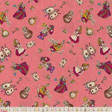 Tissu de coton fat quarter lecien-filles story-alice au pays des merveilles rose icônes