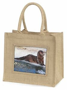 Mink on Ice Large Natural Jute Shopping Bag Christmas Gift Idea, AWE-1BLN