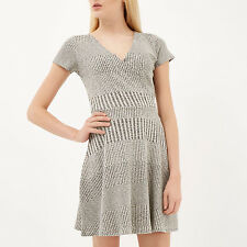 BNWT River Island Grey Waisted Tea Evening Occasion Day Dress Size 12 NEW