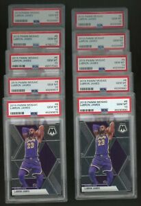 Investor Lot of (10) 2019 Panini Mosaic #8 LeBron James Lakers PSA 10
