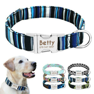Personalised Dog Fabric Collar Custom Engraved Name ID Tag Collar Adjustable S-L