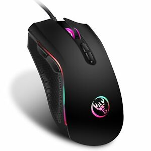 Gaming Mouse Rainbow LED Wired USB Backlit Programmable Buttons Adjustable DPI