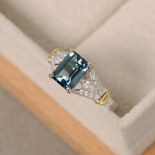 Womens Blue Topaz Stone 925 Silver Plated Wedding Bridal Rings Size 6-10 Jewelry