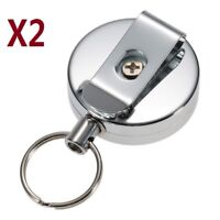 2X Stainless Silver Retractable Key Chain Recoil Keyring Heavy Duty Steel UK